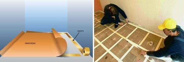 как клеить линолеум на бетонный пол при помощи скотча