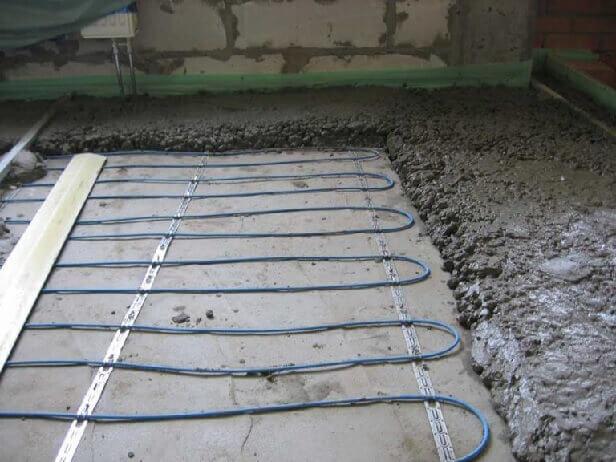 Заливка нагревательного кабеля бетоном под электрические теплые полы