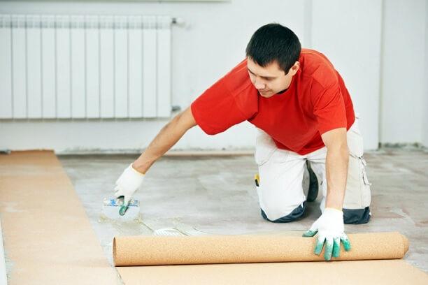 Укладка подложки на бетон а потом уже поклейка линолеума