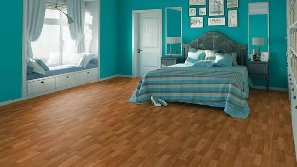 Неудачный вариант цвета линолеума в спальне