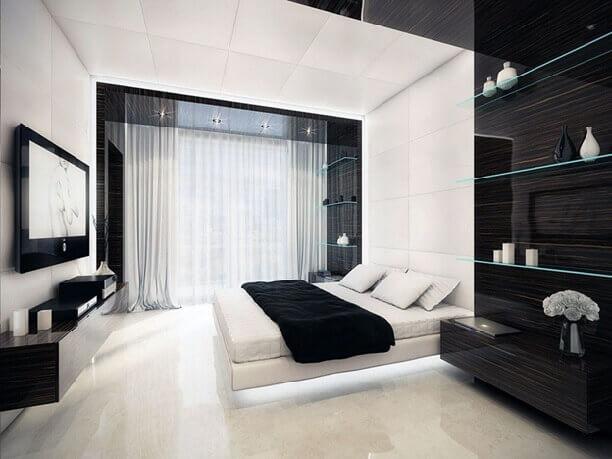 белый ламинат красиво смотрится в спальне спальни