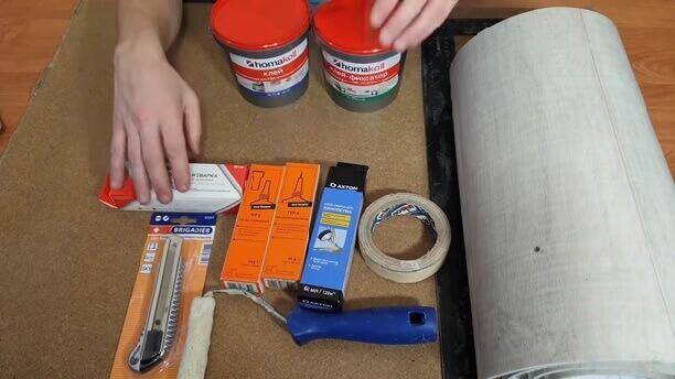 Материалы и инструмент для ремонта линолеума