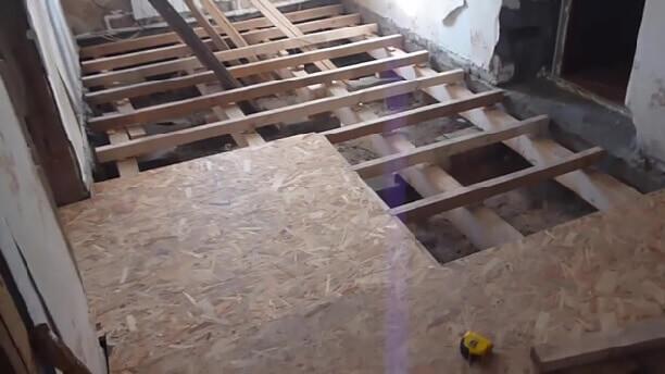 Укладка ОСП на лаги под линолеум
