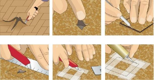 Процес ремонта линолеума с небольшой дырой