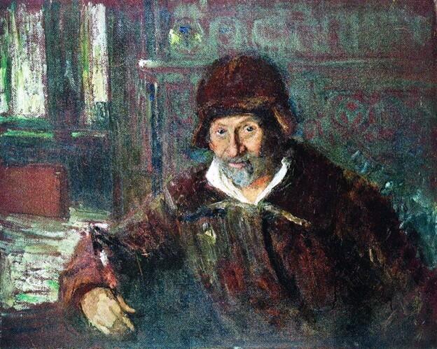автопортрет И. Репина нарисованный на линолеуме
