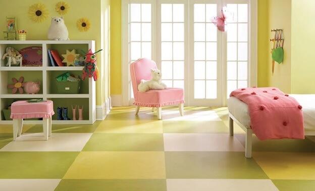 Спокойный цвет линолеума в спальне