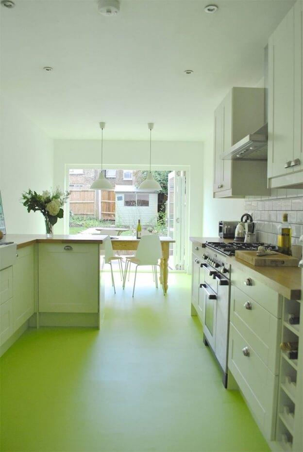 Зеленый цвет линолеума на кухне