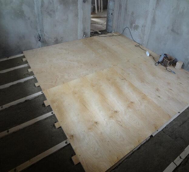 Укладка фанеры на лаги под линолеум