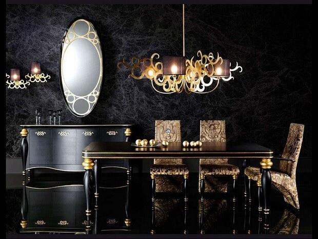 Черный линолеум в интерьере черной мебели с позолотой