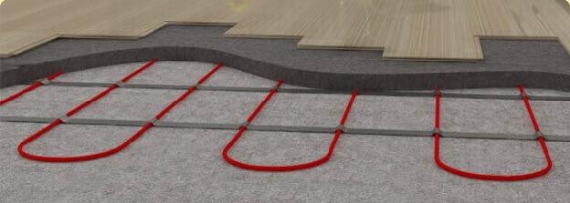 Устройство кабельного теплого пола под ламинатом в разрезе