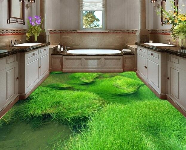Линолеум с 3D эффектом в интерьере кухни