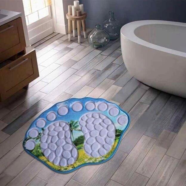 Линолеум под ламинат в интерьере ванной комнаты