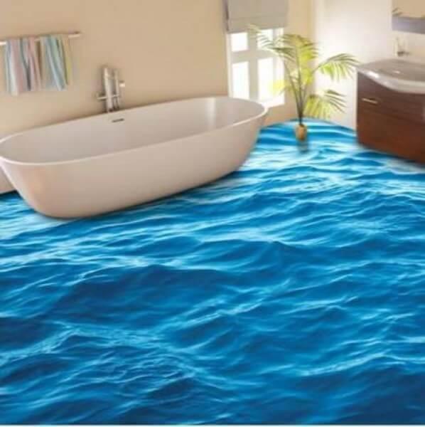 Линолеум с 3D эффектом в интерьере ванной комнаты