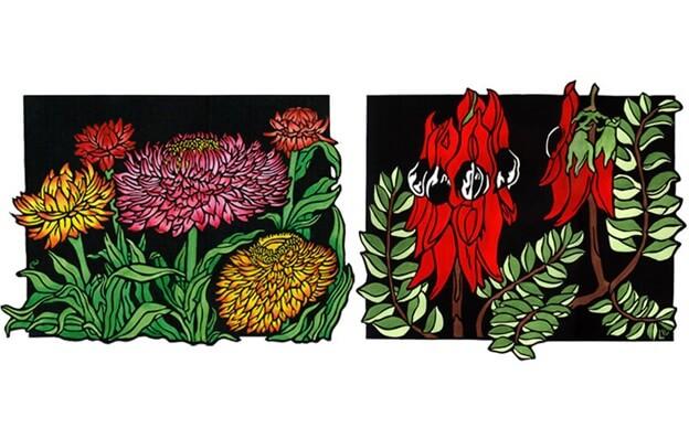 Полевые цветы графический рисунок на линолеуме