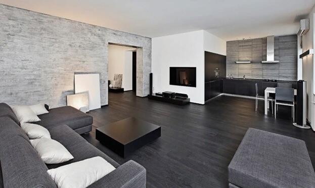 Темный линолеум в интерьере квартиры-студии