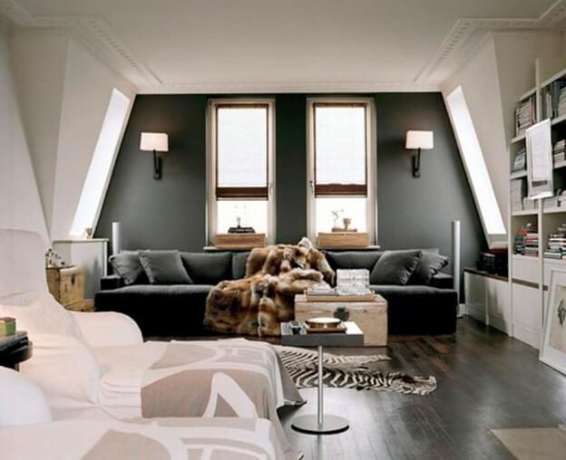 Темный линолеум и белая мебель в интерьере