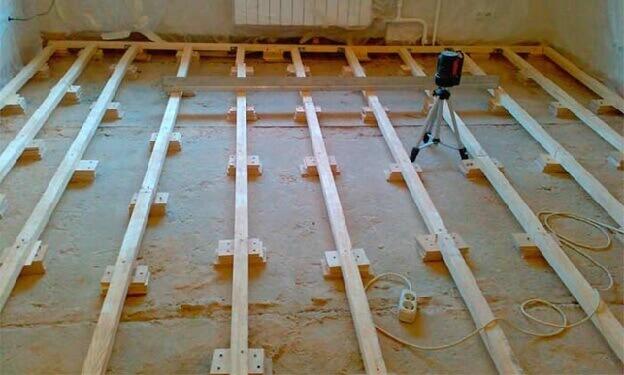 Выравнивание лагами неровного бетонного пола при укладки ламината