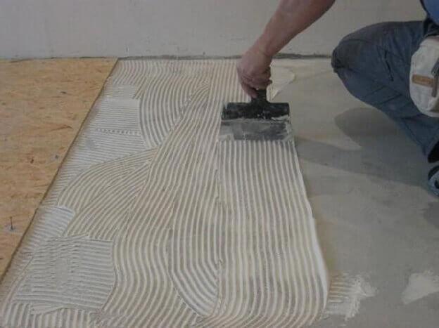 Выравнивание бетонного пола плитами ОСБ под ламинат