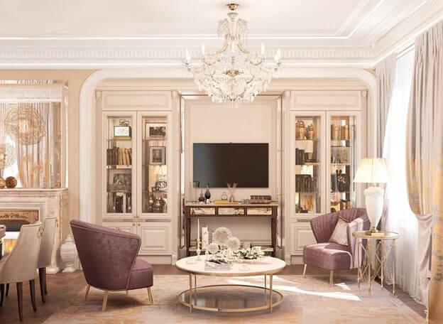 ламинат цвета коричневый светлый в комнате под классический стиль