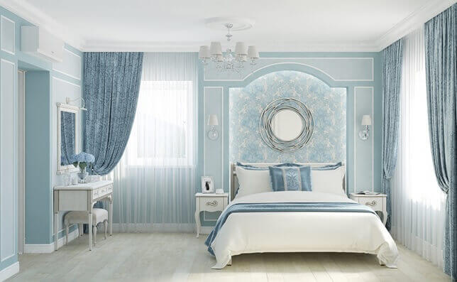 Цвет ламината матовый в комнате с холодными тонами
