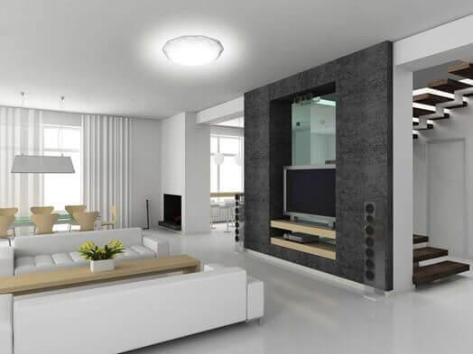 Комната в стиле хай-тек с белым глянцевым цветом ламината на полу