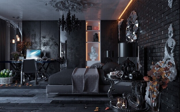 серый глянцевый цвет ламината на полу в комнате в тёмных тонах