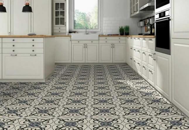 пол из плитки с узорами на кухне