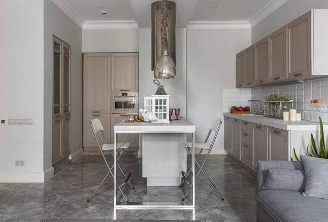 полы из серой плитки на кухне