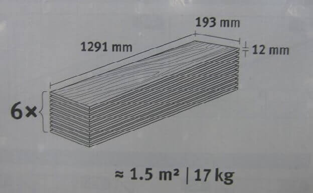 размер пачки ламината