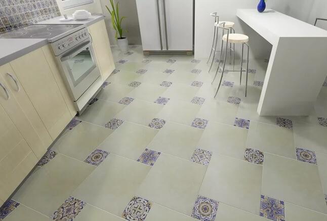 пол из плитки майолика на кухне