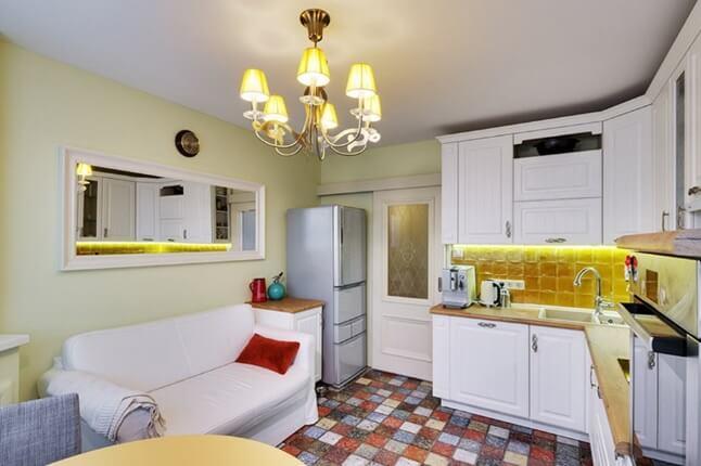 полы из плитки мозаики на кухне
