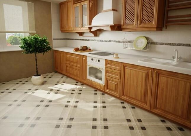 Пол из плитки на кухне выложен по диагонали