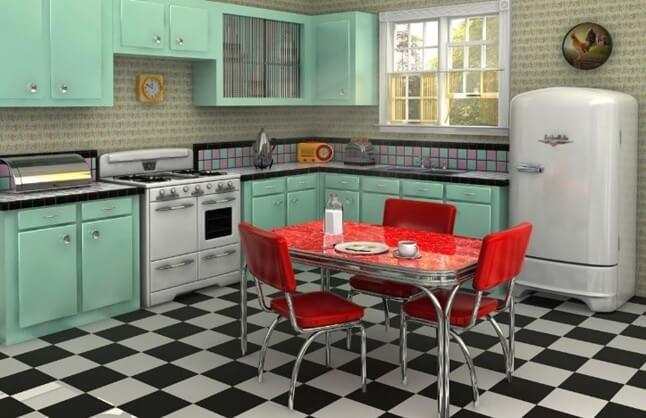 пол из плитки на кухне выложен в шахматном порядке