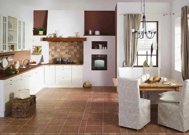 На полу кухни плитка клинкер разного размера