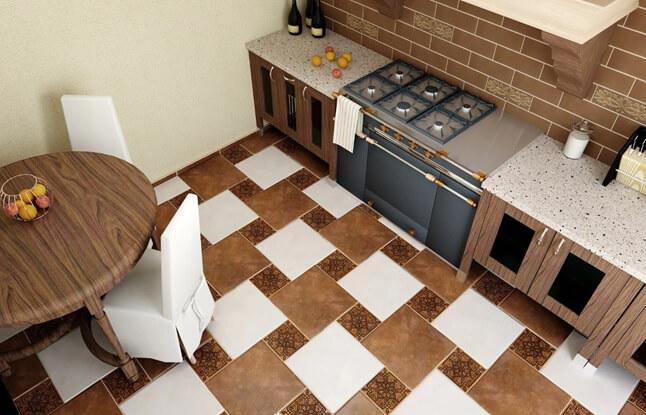 На полу кухни квадратная плитка разного размера